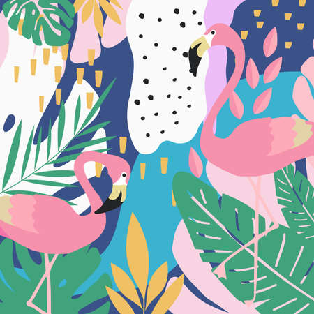 Tropical jungle leaves background with flamingos. Summer vector illustration design. Flamingo background. Exotic background poster. Tropical leaves art print Çizim