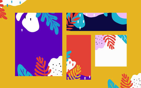 Tropical jungle leaves cards background. Colorful tropical poster design. Exotic leaves, plants and branches art print. Wallpaper, fabric, textile, wrapping paper vector illustration design