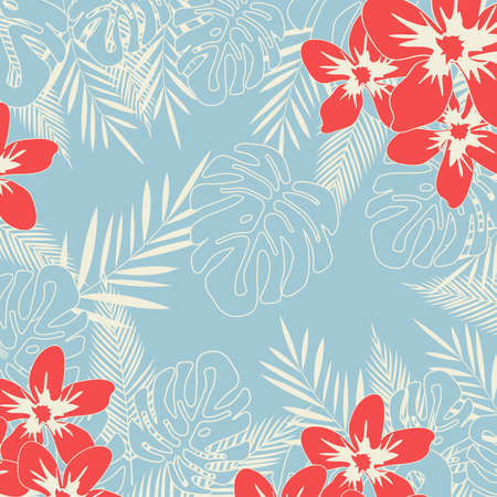 Tropical jungle leaves seamless pattern background. Tropical poster design. Monstera art print. Wallpaper, fabric, textile, wrapping paper vector illustration design