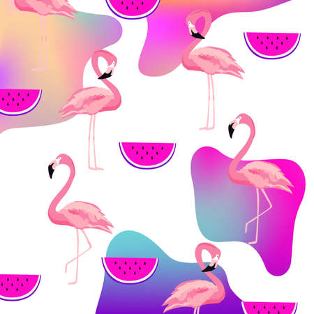 Trendy fluid flamingo and watermelon seamless pattern background. Summer tropical poster design. Wallpaper, fabric, textile, wrapping paper vector illustration design