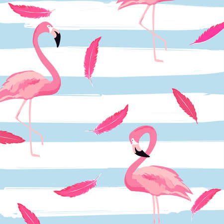 Flamingo and pink feathers with stripes seamless pattern background. Tropical poster design. Summer and holidays background. Wallpaper, invitation card, textile print vector illustration design