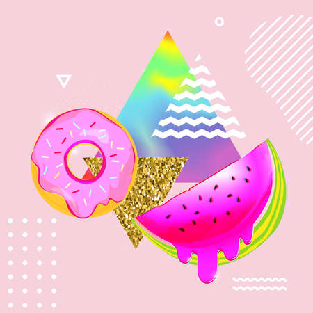 Fluid multicolored background with watermelon and donut vector illustration. Fluid color cover design with geometric shapes. Colorful food pattern texture. Template background