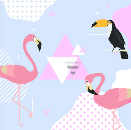 Trendy pastel background with flamingo and toucan. Summer vector illustration design with geometric elements