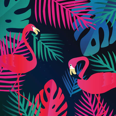 Tropical jungle leaves with flamingos background. Colorful tropical poster design. Exotic leaves, plants and branches art print. Flamingo wallpaper, fabric, textile vector illustration design