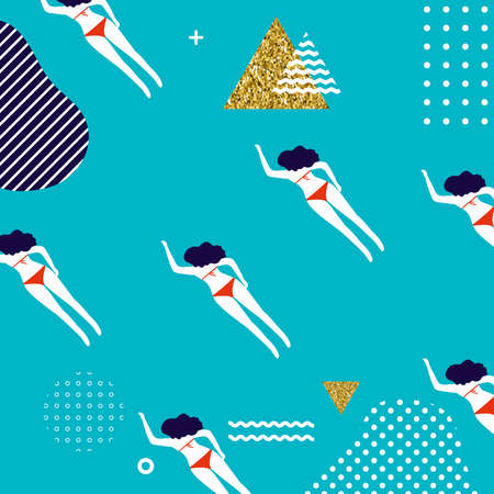Summer seamless pattern design with woman swimming. Summer holiday vector illustration. Summertime travel background template