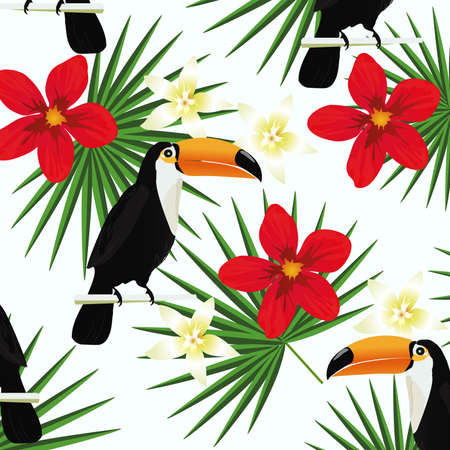 Tropical background with toucans and tropical leaves. Summer vector illustration design. Toucans background. Exotic background poster Иллюстрация