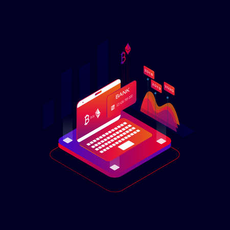 Online payments 3d isometric concept vector illustration. Cryptocurrency and block chain technology, bank card transaction, digital money market, investment, trading and finance concept