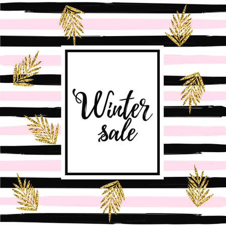 Winter sale baner on striped background vector illustration. Gold glittering tropical leaves on striped background