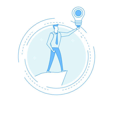 Business consulting, idea, professional guidance concept. Businessman holding light bulb flat line vector illustration design. Icon design for web banners and apps