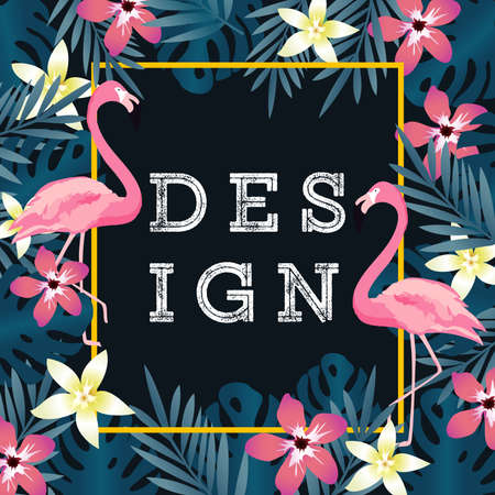 Tropical background with flamingos and tropical leaves. Summer vector illustration design. Flamingo background. Exotic background poster Иллюстрация
