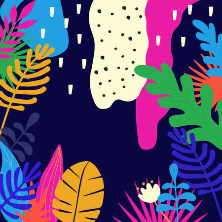 Tropical jungle leaves background. Colorful tropical poster design. Exotic leaves, plants and branches art print. Wallpaper, fabric, textile, wrapping paper vector illustration design Иллюстрация