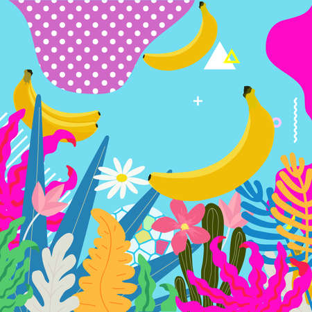 Tropical jungle leaves background. Tropical flowers poster design. Exotic leaves, plants, branches, flowers and bananas art print. Wallpaper, fabric, textile, wrapping paper vector illustration design