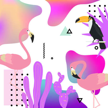 Trendy fluid background with flamingo, toucan and tropical leaves. Summer tropical poster design. Exotic background poster. Wallpaper, fabric, textile, wrapping paper vector illustration design Иллюстрация