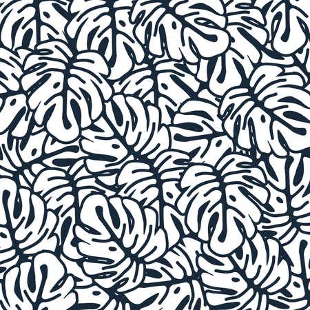 Monstera leaves seamless pattern background. Tropical poster design. Monochrome monstera art print. Wallpaper, fabric, textile, wrapping paper vector illustration design Иллюстрация