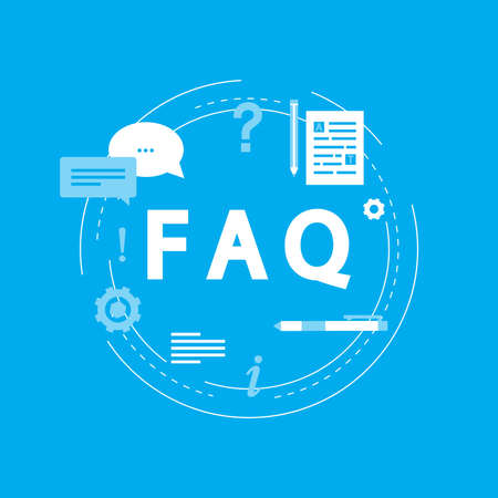 FAQ concept, frequently asked questions, client assistance and customer support, product and service information flat vector illustration design for web banners and apps Иллюстрация