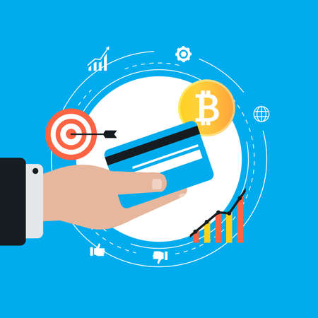 Bitcoin concept. Cryptocurrency and digital money concept. Block chain, finance symbol flat vector illustration