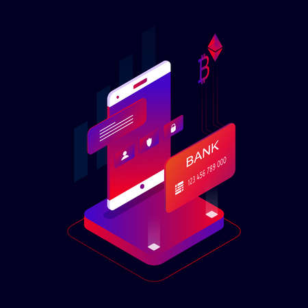 Mobile payments 3d isometric concept vector illustration. Cryptocurrency and block chain technology, bank card transaction, digital money market, investment, trading and finance concep Иллюстрация