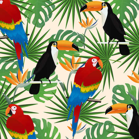 Tropical seamless pattern background with parrots, toucans and tropical leaves. Summer vector illustration design. Parrots and toucans background. Exotic background poster