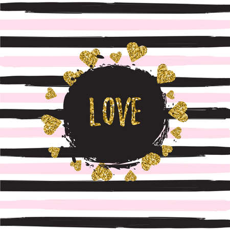 Gold glittering hearts pattern on striped background with love banner vector illustration. Pattern texture. Modern cover design. Template background