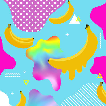 Fluid multicolored background with bananas vector illustration. Fluid color cover design with geometric shapes and bananas. Colorful food pattern texture. Modern cover design. Template background