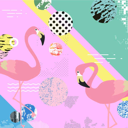 Trendy colorful background with flamingo birds. Summer vector illustration design with flamingos. Wallpaper, fabric, textile, wrapping paper design