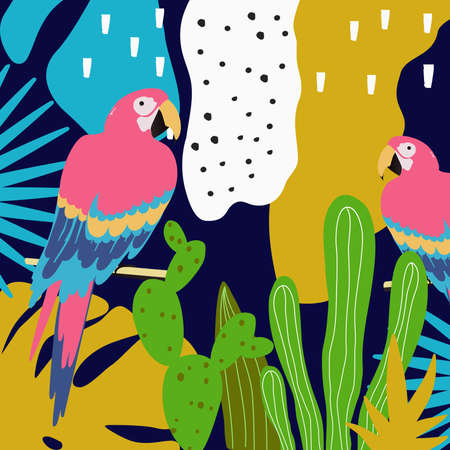 Tropical jungle leaves background with parrots. Summer vector illustration design. Colorful parrots background template. Exotic birds background poster. Tropical leaves art print Иллюстрация