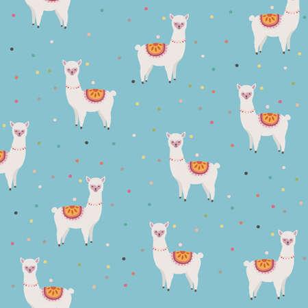 Llama or alpaca with dots seamless pattern background vector illustration. Llama animal poster design. Llama art print. Wallpaper, fabric, textile, wrapping paper design