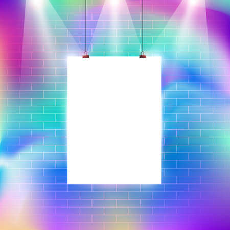Colorful brick wall pattern with blank billboard vector illustration design
