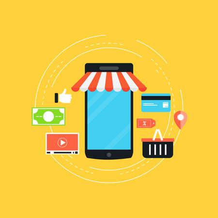 Mobile commerce flat vector illustration design. Online shopping, m-commerce, discount, retail, sale, internet store design for web banners and apps