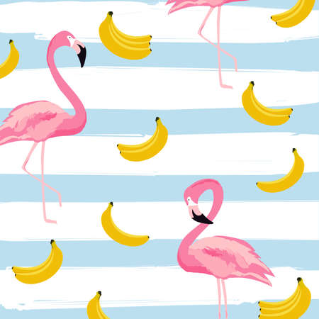 Flamingo and bananas with stripes seamless pattern background. Tropical poster design. Summer and holidays background. Wallpaper, invitation card, textile print vector illustration design