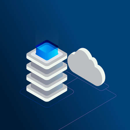 Digital data storage isometric 3d concept vector illustration. Cloud computing services, data center, cloud hosting, remote system administration, digital tehnologies design for web banners and apps