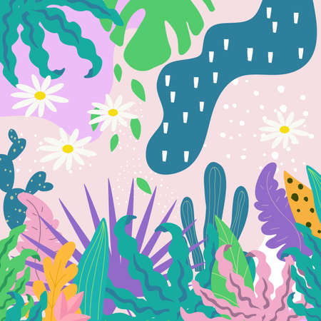Tropical jungle leaves background. Tropical flowers poster design. Exotic leaves, plants, branches and flowers art print. Wallpaper, fabric, textile, wrapping paper vector illustration design