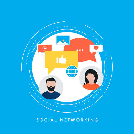 Social media and social network concept, online communication flat vector illustration. Social networking for web banner and apps