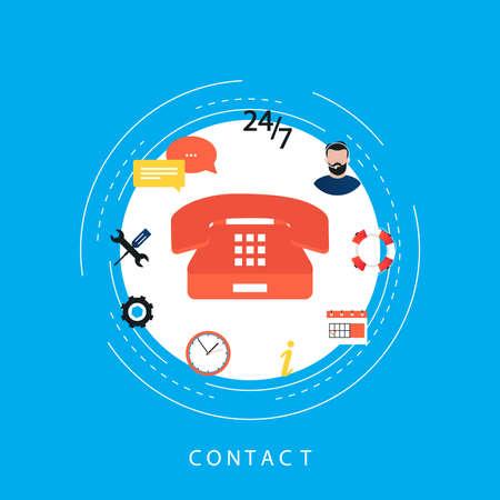 Call center, customer support, customer online assistance, telephone operator flat vector illustartion design for web banners and apps Иллюстрация