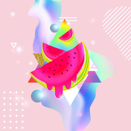 Fluid multicolored background with watermelon vector illustration. Fluid color cover design with geometric shapes and watermelons. Colorful food pattern texture. Template background