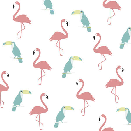 Trendy pastel flamingo and toucan seamless pattern background. Tropical poster design. Wallpaper, fabric, textile, wrapping paper vector illustration design