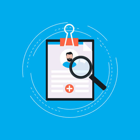 Medical report flat vector illustration design. Medical diagnosis with clipboard. Medicine and healthcare concept. Design for web banners and apps