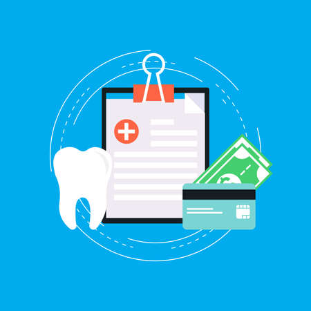 Dental insurance, dental care flat vector illustration design. Dental diagnosis with clipboard. Medicine and healthcare concept. Design for web banners and apps