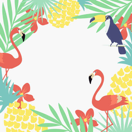 Tropical jungle leaves background with flamingo, toucan and pineapple. Summer vector illustration design. Flamingo and toucan exotic floral frame poster. Tropical leaves art print