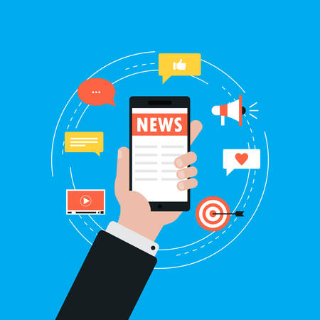 Online news, newspaper, news website flat vector illustration. News update, digital content, internet newspaper, news article for web banner and apps