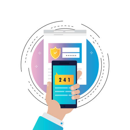 Smartphone verification process gradient color vector illustration, smartphone authentication, online security and protection. Secured information, data privacy icon design for web banners and apps