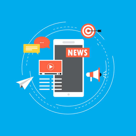 Noticias en línea, periódico, ilustración de vector plano de sitio web de noticias. Actualización de noticias, contenido digital, periódico de Internet, artículo de noticias para banner web y aplicaciones
