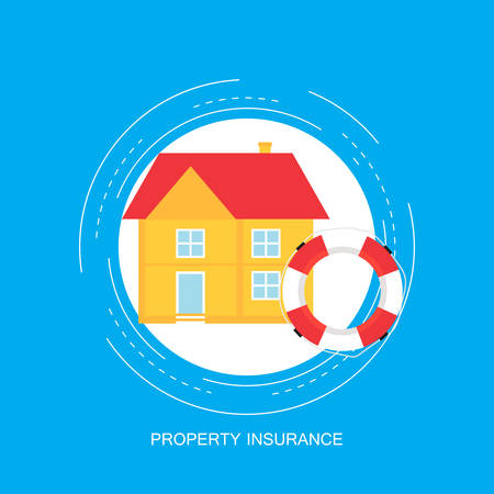 House insurance concept, real estate protection, insurance policy services flat vector illustration. Design for web banners and apps Illustration