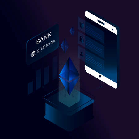 Ethereum 3d isometric concept vector illustration. Cryptocurrency and block chain technology, block chain platform, digital money market, investment, trading and finance concept Illustration