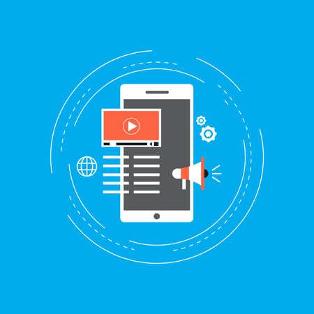 Video marketing campaign, online promotion, digital marketing, internet advertising flat vector illustration. Video tutorials, viral marketing design for web banners and apps Illustration
