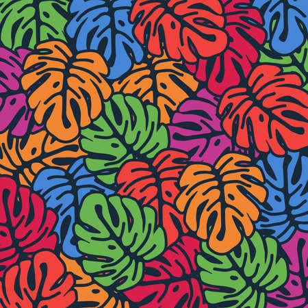 Monstera coloré laisse fond transparent. Conception d'affiche tropicale. Impression d'art Monstera. Papier peint, tissu, textile, conception d'illustration vectorielle de papier d'emballage Vecteurs