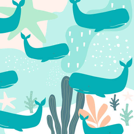 Colorful sea life seamless pattern background with whales. Summer vector illustration design with whales. Wallpaper, fabric, textile, wrapping paper design