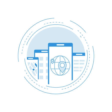 Online mapping and locating on smartphone, GPS navigation flat line vector illustration design. Design for web banners and apps