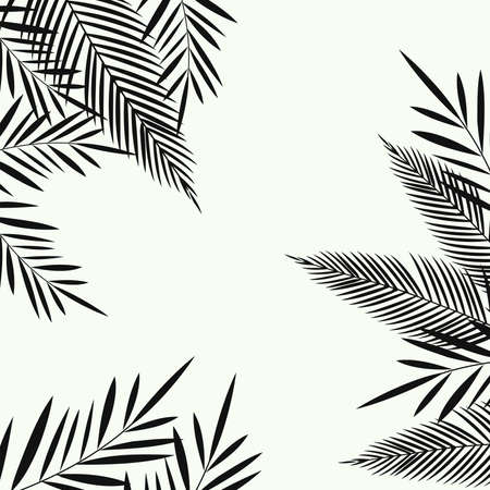 Exotic leaves seamless pattern background. Tropical poster design. Monochrome art print. Wallpaper, fabric, textile, wrapping paper vector illustration design Иллюстрация