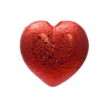 Red heart over white background photo